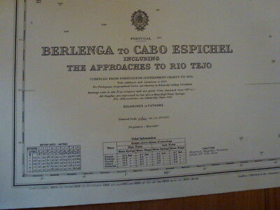 Original Vintage Admiralty Chart #1515  Berlenga to Cabo Espichel date from 1965