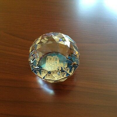 Cut Crystal Faceted Ball Paperweight 'Paris'