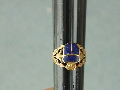 Rare Antique Hallmarked 18k Gold Blue Lapis Scarab Beetle Ring Egyptian Revival