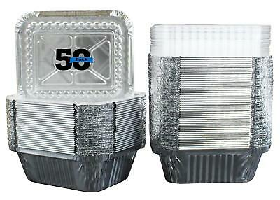 50 Pack of Disposable Takeout Pans with Clear Lids – 1 Lb Capacity Aluminum