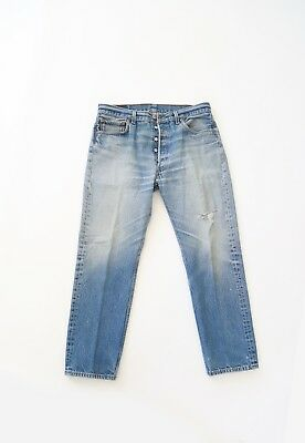 Vtg 501XX Levis red tab light wash blue button fly jeans USA W33 L30