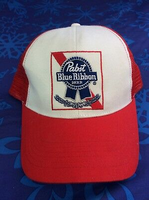 Retro PBR TRUCKER HAT Pabst Red Ribbon Beer Cap Snapback Mesh Baseball Funny