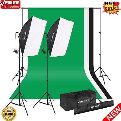 1250W Softbox Continuous Lighting Kit +Background Support System+3X Backdrops