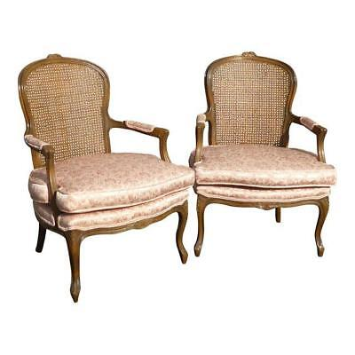 Pair Vintage French Provincial Country Cottage Cane Back Pink Accent Chairs