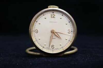 Vintage Concord Brass Swiss Made 8 Day Travel Alarm Clock NOT WORKING