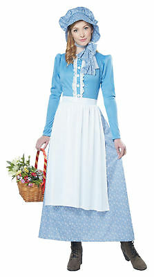 Prairie Pioneer Woman Costume Blue Dress Thanksgiving Pilgrim Little House Med