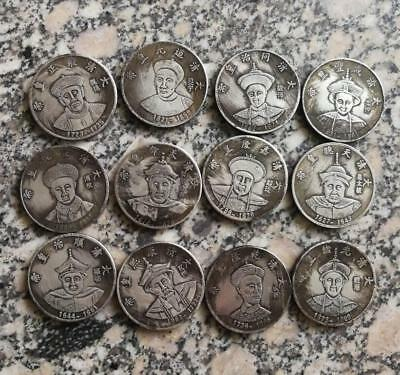 12pc Ancient Chinese Carving Tibetan Emperors Commemorative Coin in the Silver