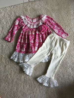 Giggle Moon Baby Girl Dress and White Leggings Set Size 12 Months NWOT