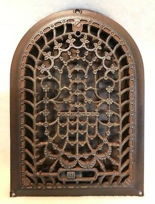Antique Victorian 1880's Ornate Arched Floral Cast Iron Heat Register w/ Louvers