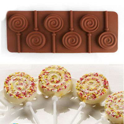 Round Silicone Lollipop Mould Tray Candy Chocolate Lollypop Mold With Sticks