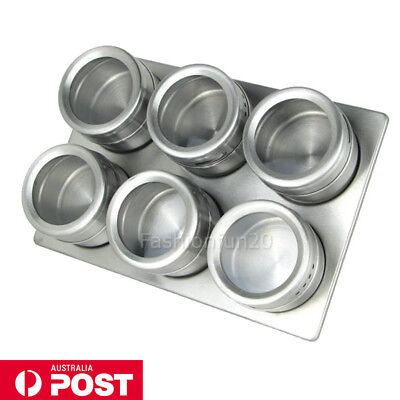 Stainless Steel Magnetic Spice Rack Herb Pot Jar Kitchen Storage Holder Stand OZ