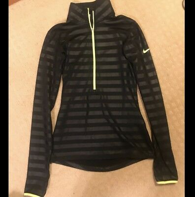 Women's Nike PRO DRI-FIT Black And Neon Yellow 1/4 Zip Pullover - XS