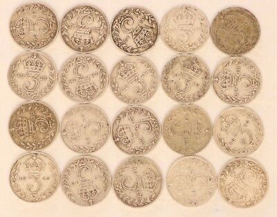 Uk Silver Threepence 1911-1920 Lot Of 20 Coins Kgv 0.84 Oz Asw Combined Ship E97