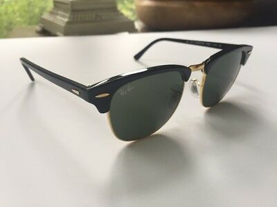 67d55a4bd0 Ray Ban Authentic Clubmaster Sunglasses RB 3016 W0365 51 21 140 3N Black  Gold