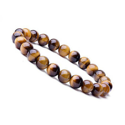 Natural Stone 8mm Tiger's Eye Healing Chakra Stretch Beaded Bracelet Unisex