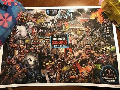 Signed SDCC 2018 Call Of Duty Black Ops 4 Zombies 10th Anniversary Poster