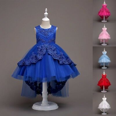 USA Kids Girl Flower Wedding Bridesmaid Dress Party Pageant Beauty Tulle Dress
