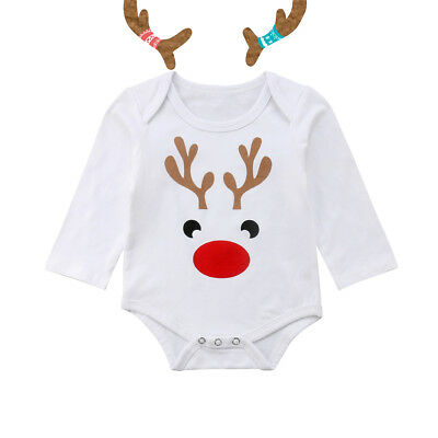 Toddler Infant Baby Girl Clothes Christmas Deer Romper Jumpsuit Outfit