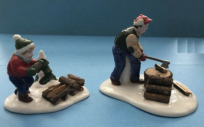 Department 56 Snow Village Retiree Chopping Firewood Dept56 54863  Collectible
