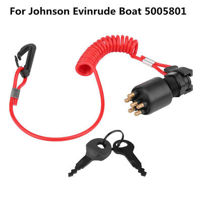 Metal Ignition Key Switch & Safety Lanyard Kit for Johnson Evinrude Boat 5005801