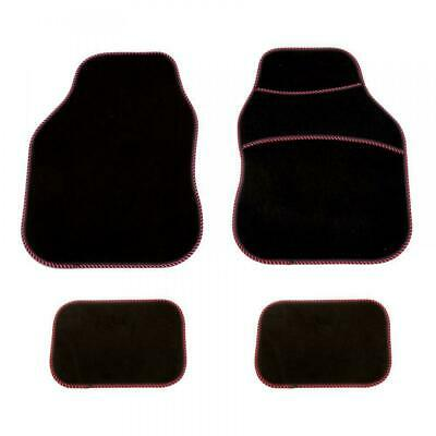4 Piece RED Front & Rear Car Mat Carpet NON-SLIP Grip Universal Floor Mats