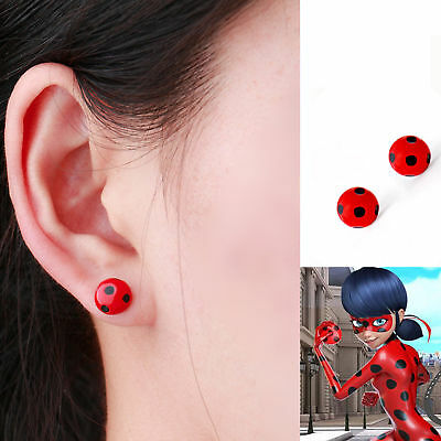 Miraculous Ladybug Cats Noir Cosplay Costume Ear Studs Red Ladybird Earrings USA