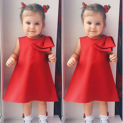 Baby Girls Bowknot Skater Dress Kids Floral Summer Party Pageant Dresses 0-5Year