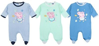 George Pig Baby Boys Babygrow Peppa Pig Sleepsuit Babies Romper Outfit Gift Size