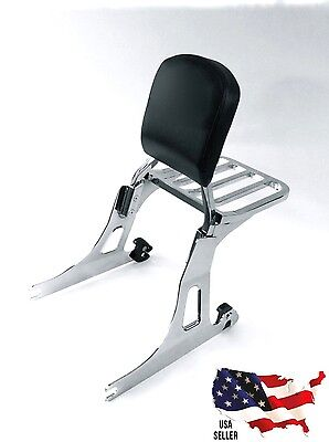 New Harley Dyna Chrome Backrest Sissy Bar & Luggage Rack Quick Release Low Rider