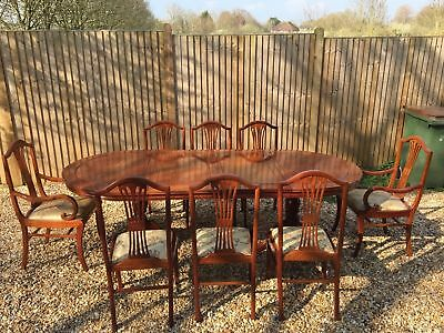 Vintage Chinese Rosewood Extendable Table Two Carvers And Six Chairs