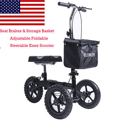 ELENKER Steerable Foldable Knee Walker Medical Scooter Turn Brake Basket Drive