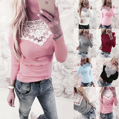 ISASSY Donna Blusa Casual Manica Lunga Pizzo Patchwork Camicia Tops Camicetta