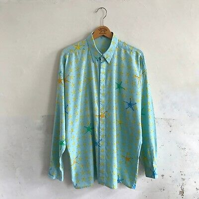 Gianni Versace 1992 Starfish Vintage Shirt Turquoise Tropical Summer Holiday