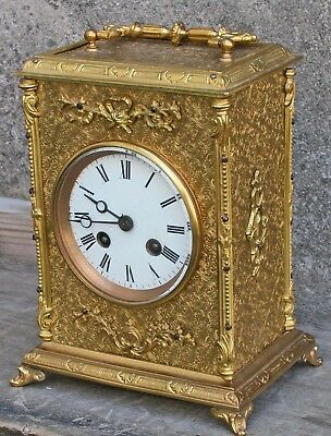"""Antique 19c Japy Freres mfc Beaucourt Fr Engraved Ormolu 9"""" Carriage Clock T&S"""