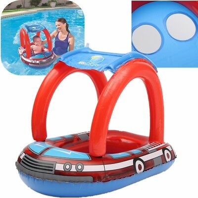 Inflatable Toddler Baby Swim Ring Float Swimming Pool Water Seat Boat Canopy US