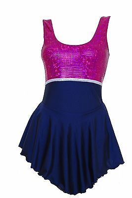 Skating Dress -NAVY LYCRA / CERISE HOLOGRAM NO SLEEVE ALL SIZES AVAILABLE PRAGUE