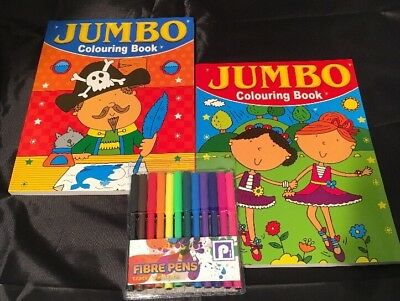 2 x CHILDREN'S COLOURING BOOKS & A PACK OF FREE 12 FIBRE PENS FUN PICTURES JUMBO
