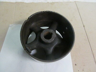 "VINTAGE STEEL SPOKED FLAT BELT PULLEY 5-1/4"" Wide X 8"" Diameter, 1-5/16"" Bore."