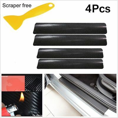4Pcs 3D Carbon Fiber Car Doors Plate Sill Scuff Cover Black Sticker Anti Scratch