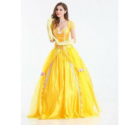 96f70b160e564d Adult Fairy Tale Princess Belle Cosplay Costume Fancy Ball Gown Dress  Petticoat