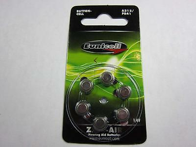 6 x HEARING AID BUTTON CELL BATTERIES NEW ZINC AIR A312 PR41 312 D6 1.4V
