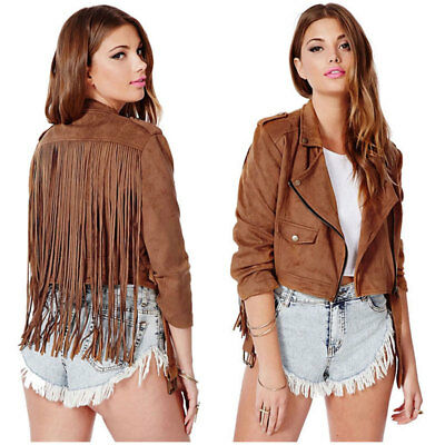 Womens Suede Leather Jacket Fringe Native American Western Style Cow Hide Jacket