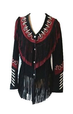 Womens Traditional Western Suede Leather Cowboy Fringe Native American Beads