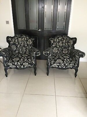 PAIR / X 2 Rococo Baroque  FRENCH LOUIS STYLE  ARMCHAIRS Black And Gold
