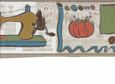Sewing Needs on Beige Vintage Newspaper Peel & Stick Wallpaper Border QA4W1967