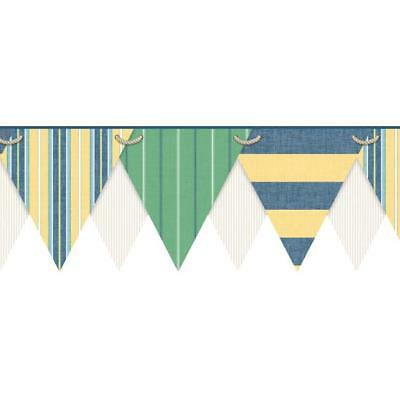 Nautical / Boating Pennant Flags Laser Cut Sure Strip Wallpaper Border NY4903BD