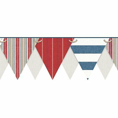 Nautical / Beach Pennant / Flags Laser Cut Sure Strip Wallpaper Border NY4904BD