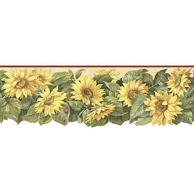 Sunflower and Lady Bugs on Beige with Burgundy Edge Wallpaper Border MN5017