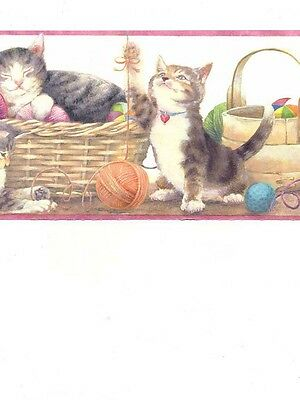 Kittens / Cats Playing with Yarn Wallpaper Border GU79257