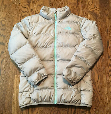4ee5ad45c THE NORTH FACE Down Jacket Girls XL Silver Gray Nuptse 550 Fill ...